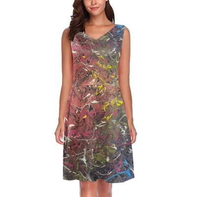 Mood Splash - Sleeveless Pleated Dress - Fiercely Fem