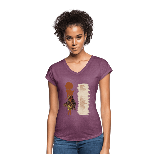 I Am - Women's Tri-Blend V-Neck T-Shirt - Fiercely Fem
