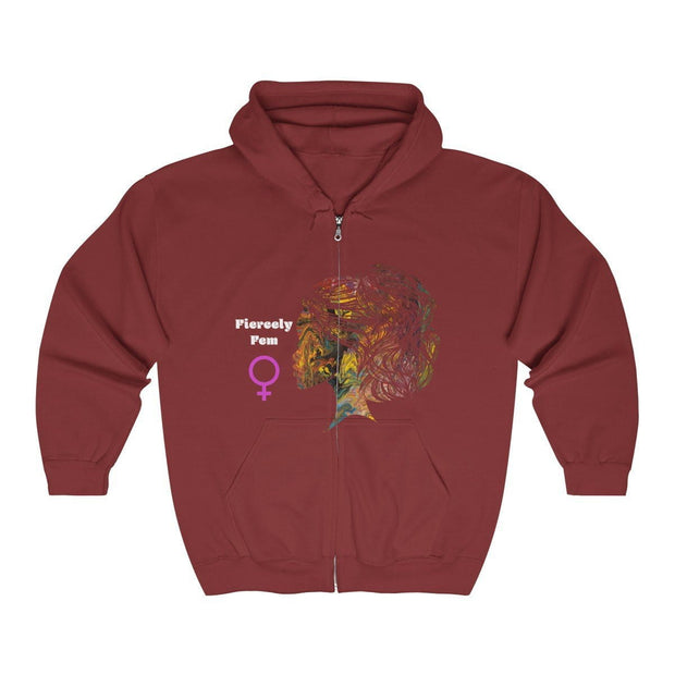 Fiercely Fem Unisex Heavy Blend™ Full Zip Hooded Sweatshirt - Fiercely Fem