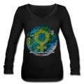 Mother Earth - Women's Long Sleeve  V-Neck Flowy Tee - black