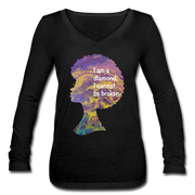 Diamond - Women's Long Sleeve  V-Neck Flowy Tee - black