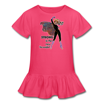Strong - Girl's Ruffle Tee - fuchsia