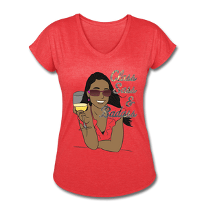Class, Sass & Badass - Women's Tri-Blend V-Neck Tee - Fiercely Fem