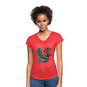 Black Female Rise - Women's Tri-Blend V-Neck T-Shirt - Fiercely Fem