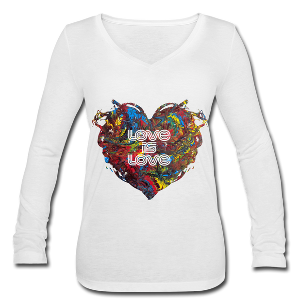 Love is Love - Women's Long Sleeve  V-Neck Flowy Tee - white