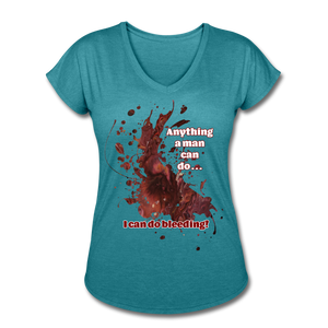 I Can - Women's Tri-Blend V-Neck Tee - heather turquoise