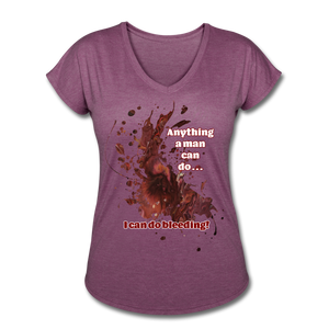 I Can - Women's Tri-Blend V-Neck Tee - heather plum