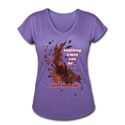 I Can - Women's Tri-Blend V-Neck Tee - purple heather