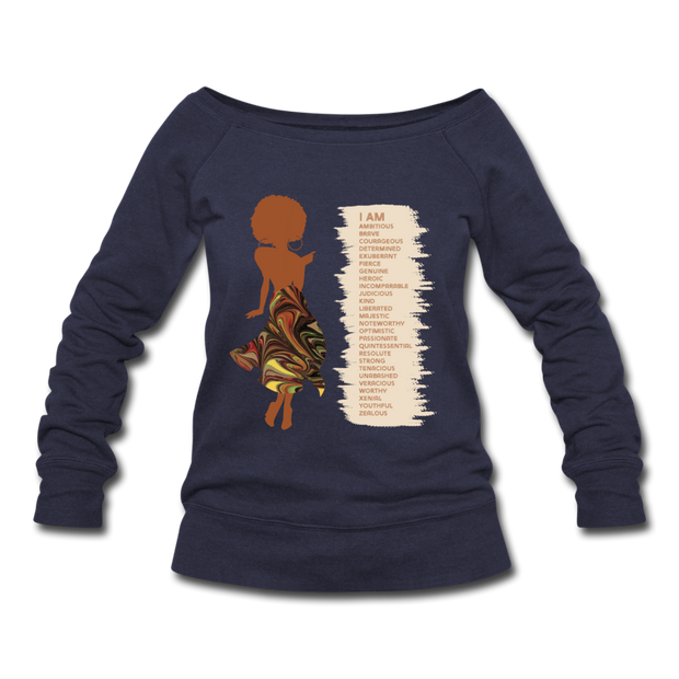 I Am - Women's Wideneck Sweatshirt - melange navy