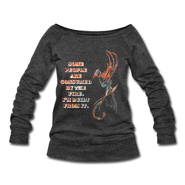 Built From Fire - Women's Wideneck Sweatshirt - heather black