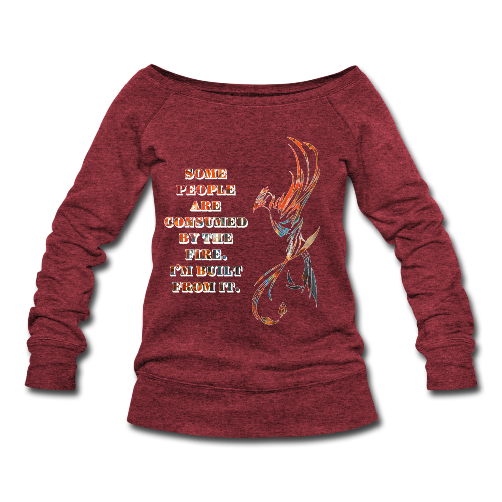 Built From Fire - Women's Wideneck Sweatshirt - cardinal triblend