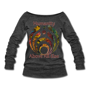 Humanity - Women's Wideneck Sweatshirt - heather black