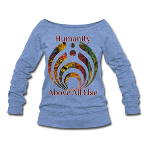 Humanity - Women's Wideneck Sweatshirt - heather Blue