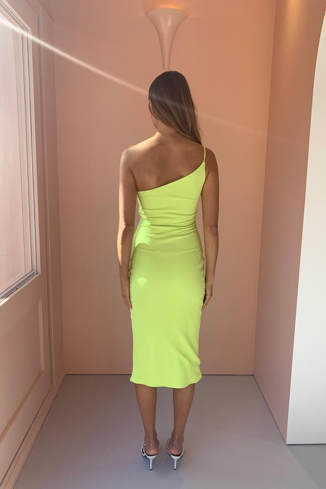 By Nicola Riviera Ribbed One Shoulder Midi - Dress Hire NZ