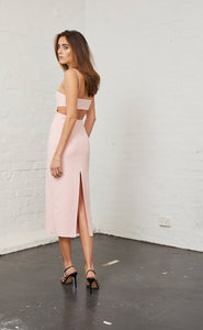Bec & Bridge Elle Cut Out Midi Dress - Blush - Dress Hire NZ