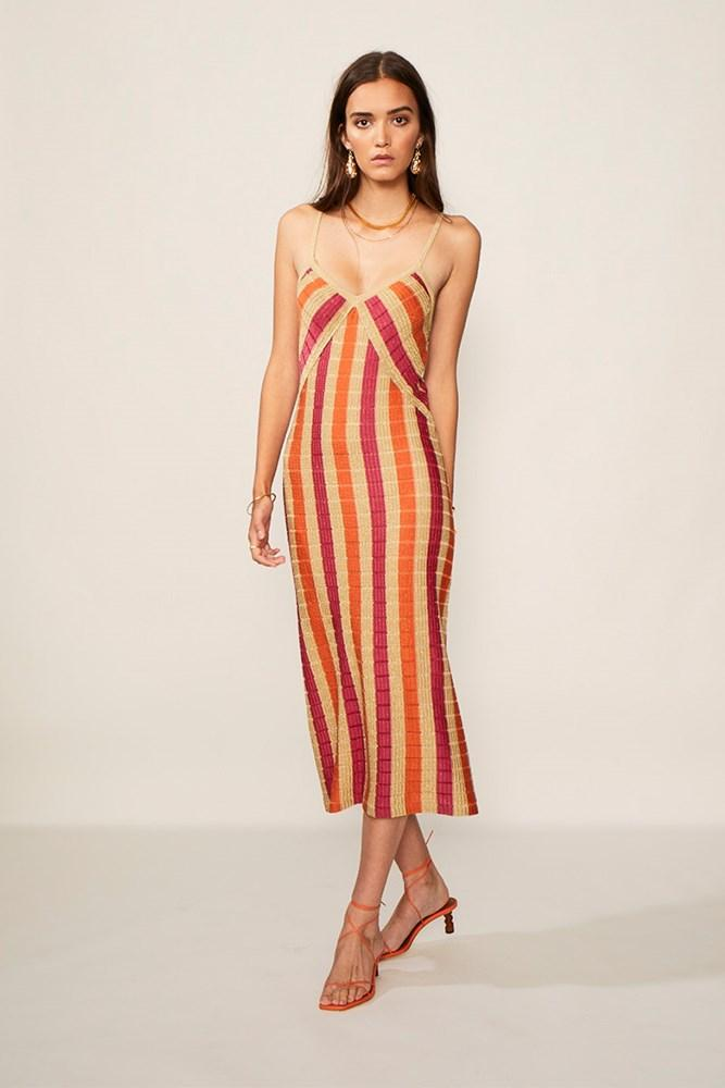 SUBOO JACQUELYN KNIT SLIP DRESS - GOLD PINK ORANGE - Dress Hire NZ