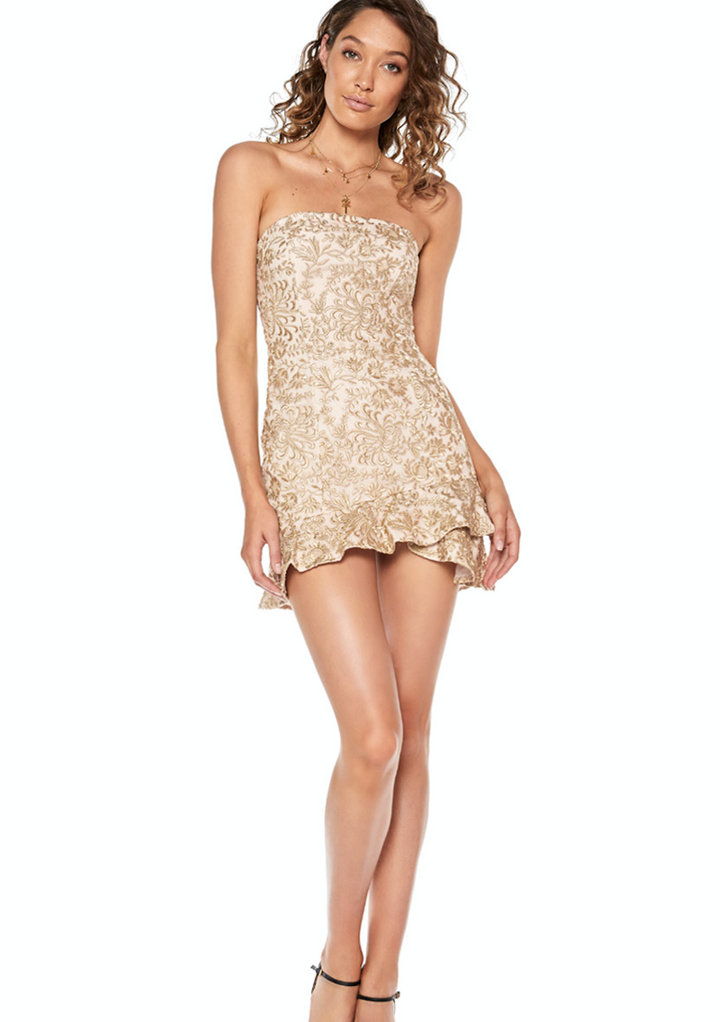 Sofia The Label Radiate Strapless Frill Mini - Gold