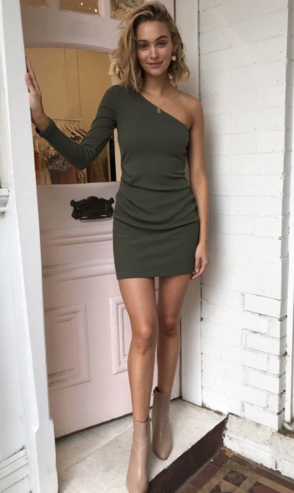 By Nicola Off The Shoulder Mini - Khaki - Dress Hire NZ