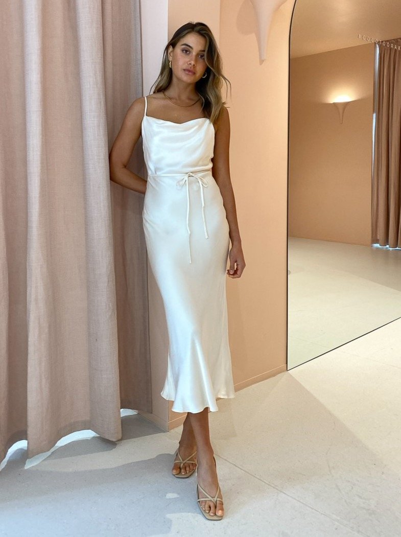 Shona Joy La Lune Bias Cowl Midi Dress - Cream - Dress Hire NZ