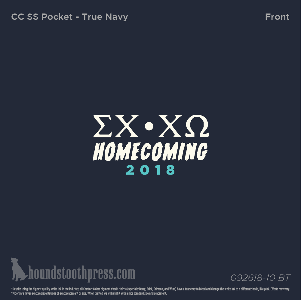 Chi Omega Texas Am University Commerce Homecoming 2018 Tendencies Tshirt Monday To Long Navy S Houndstooth Press Online Orders
