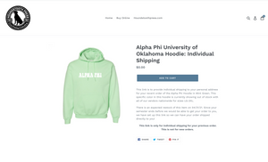 Alpha Phi University of Oklahoma Hoodie: Individual Shipping