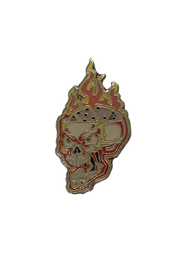 FLAMING SKULL PIN