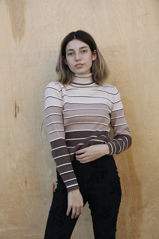 Mocha Striped Turtleneck
