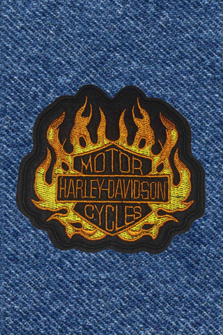 FLAMING HARLEY PATCH