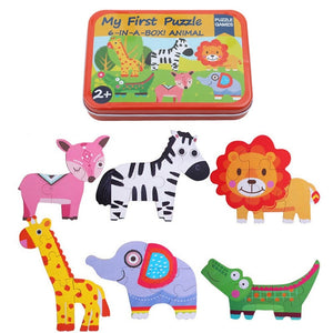 Kacakid Baby Early Educational Toys Toddler Wooden Animal Cube Puzzles Educational Toys Gifts 6 in 1 iron box