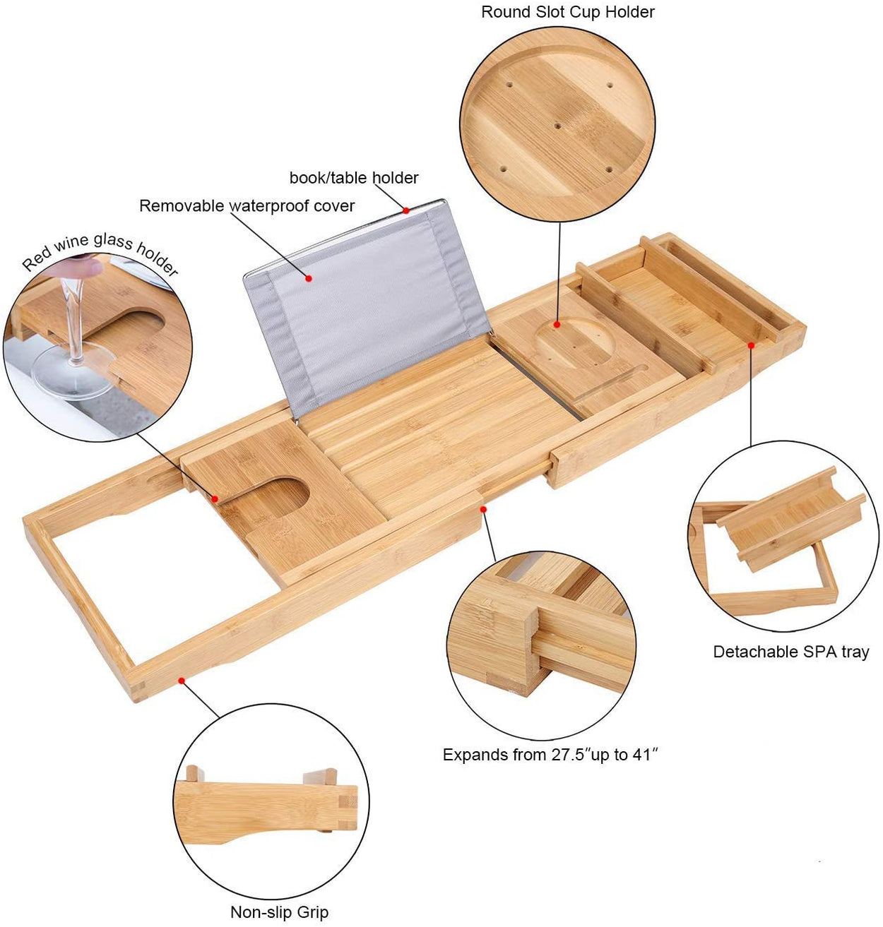 Homefilos Bamboo Bath Tray with Book Tablet Phone Wineglass Holder