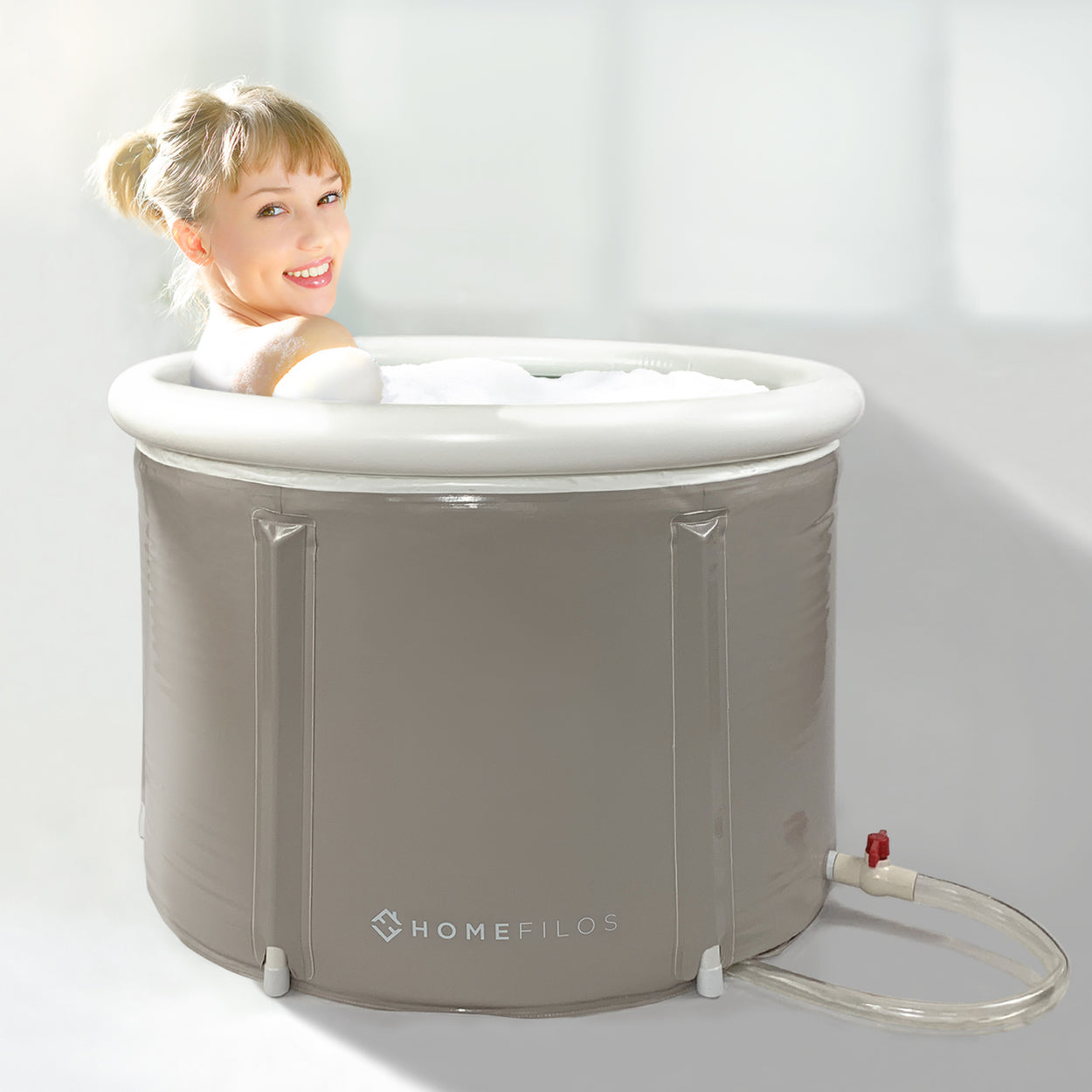 Portable Bathtub (SMALL) by Homefilos, Japanese Soaking Bath Tub for Shower Stall
