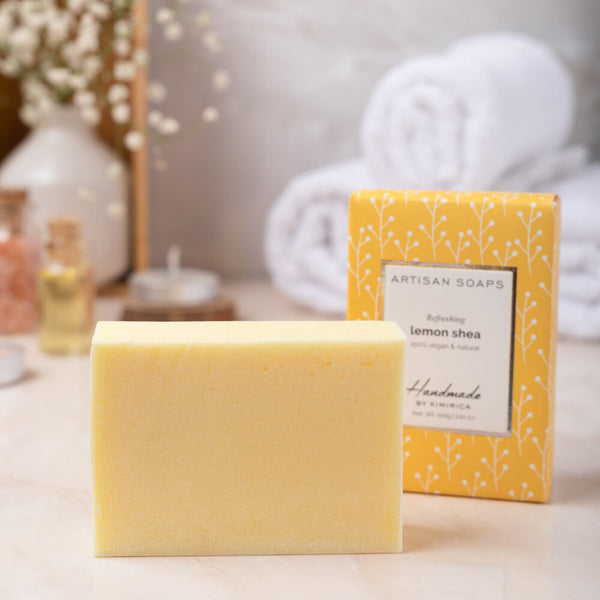 Handmade Artisan Soap Lemon Shea with notes of Lemon and Pampering Shea Butter by kimirica