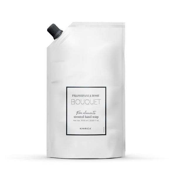 Bouquet hand soap refill pouch with the goodness of Soothing Aloe and Skin-softening Olive Oil by kimirica