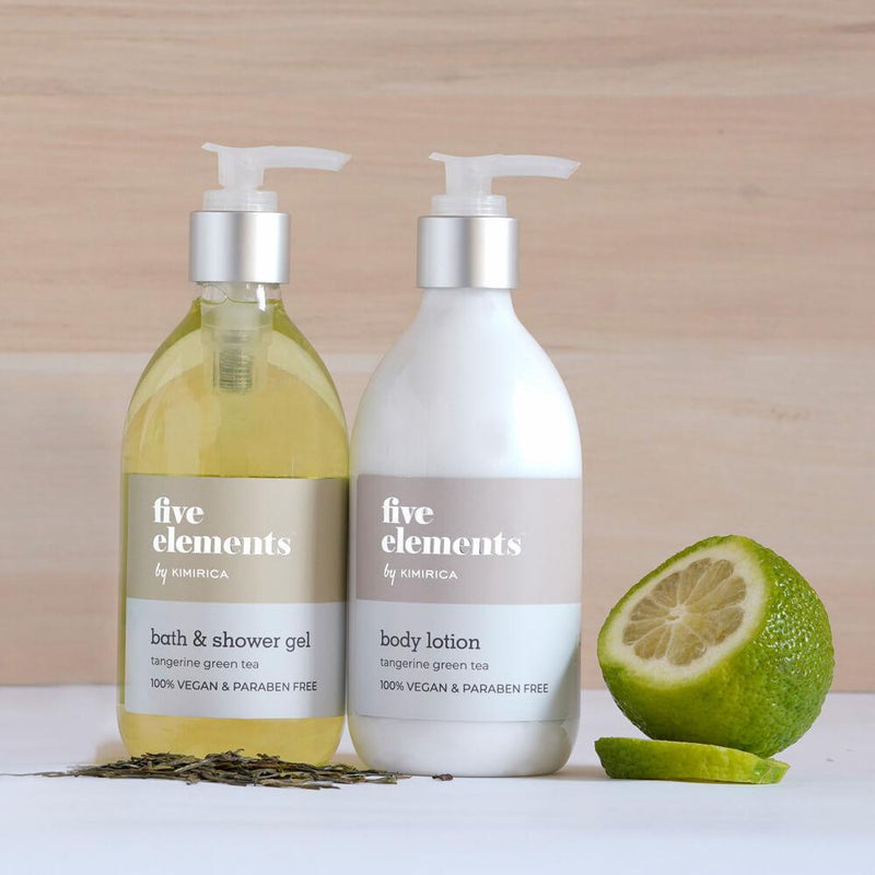 Five Elements Body Lotion And Shower Gel With Goodness of the Tangerine Green Tea Kimirica
