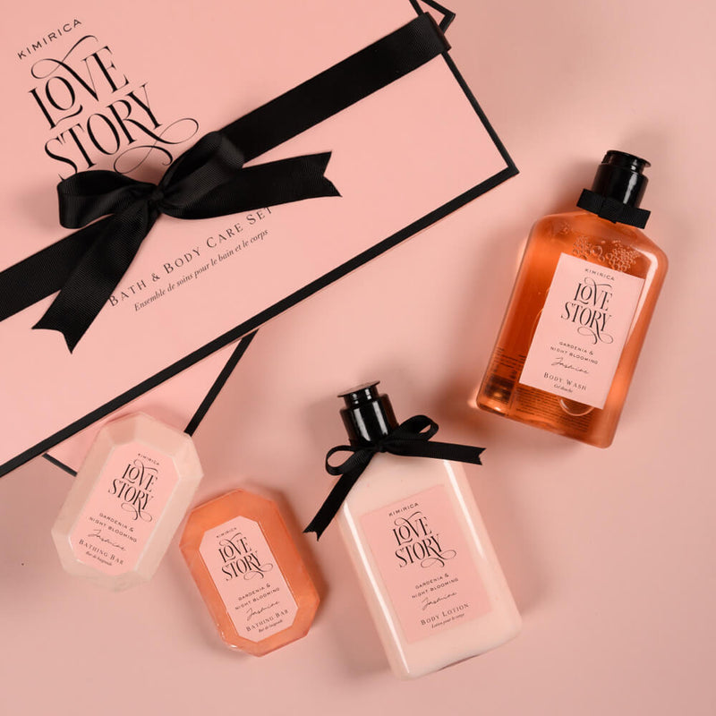 Love Story Bath & Body Care Duo with the goodness of Shea Butter, Tucuma Butter, Coconut Oil, Ginkgo Biloba with White Tea Extract, and Vitamin E by kimirica