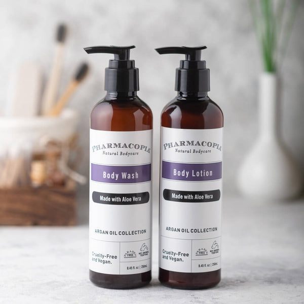 Pharmacopia Argan Oil body Lotion and body wash with goodness of the Argan Oil And Aloe Vera by Kimirica