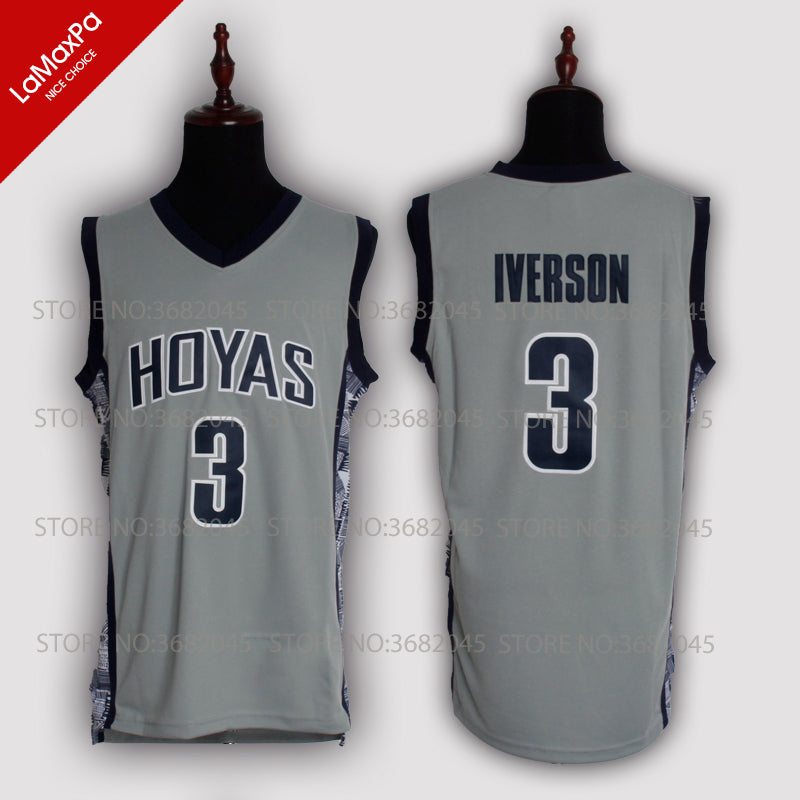 18d457cabae9 Allen Iverson Jersey No.3 Georgetown University Hoyas Throwback High Q –  Brand Ability