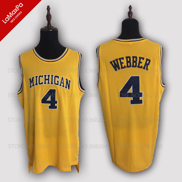 outlet store ebd6c 9f64b Retro Chris Webber Basketball Jersey No.4 Michigan College Wolverines  Throwback Stitched Commemorative High Quality Shirts