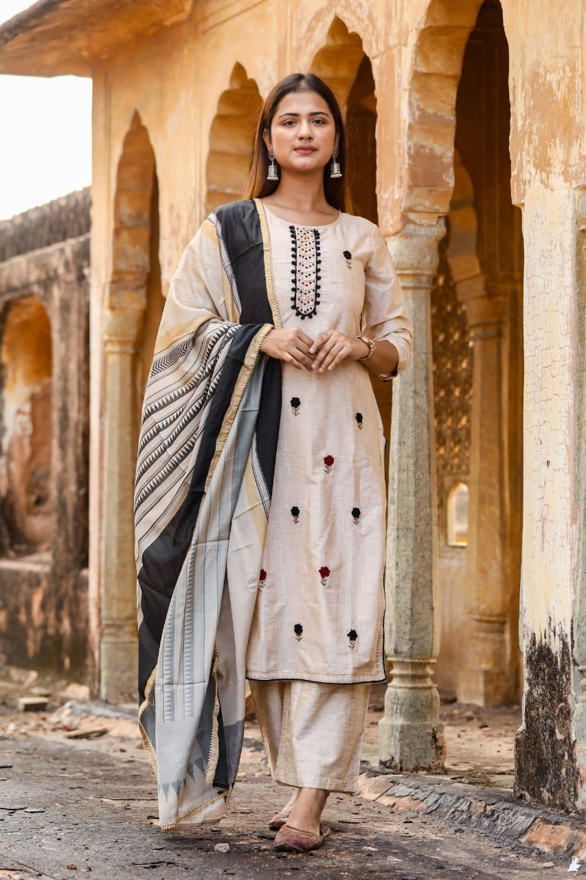 Kadder winter collection  with French knot embroidery and navy detail silk duppatta