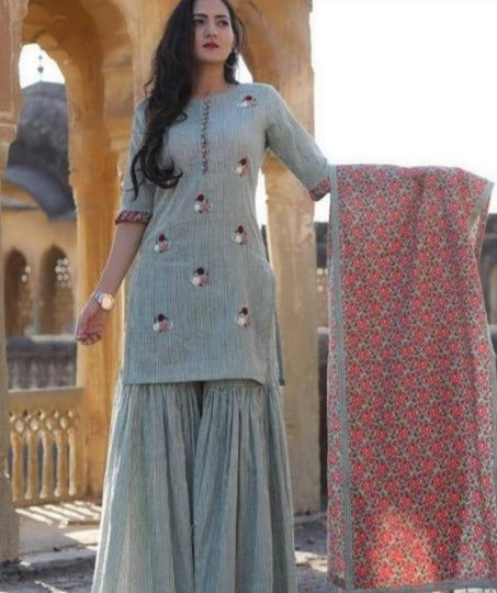Pinstripe Cotton gharara suit