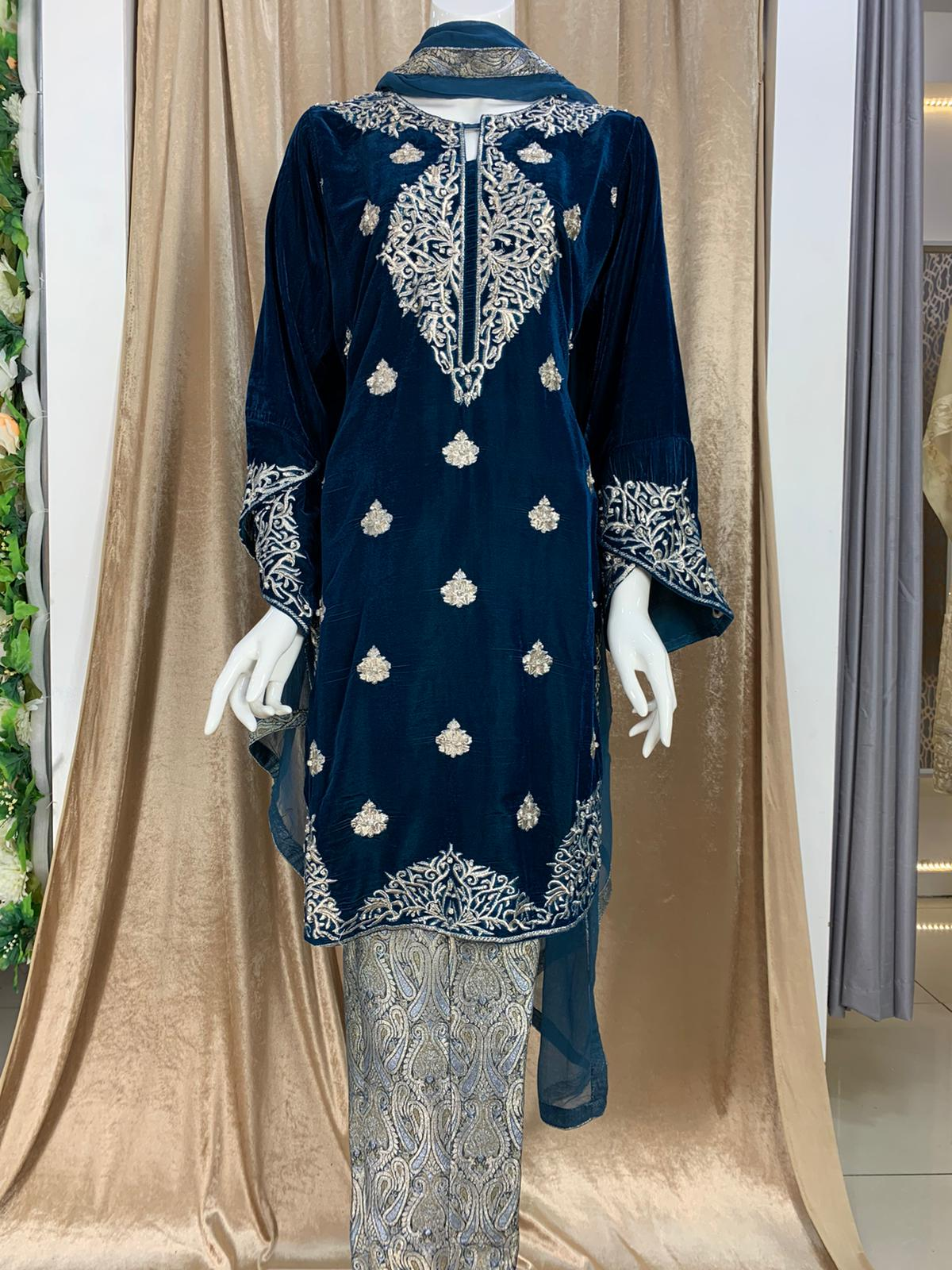 Dabka neck embroidery jamawar trouser suit