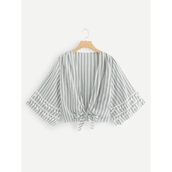 Striped Fringe Knot Hem Blouse