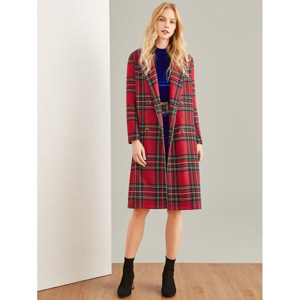 Double Breasted Waterfall Plaid Longline Coat