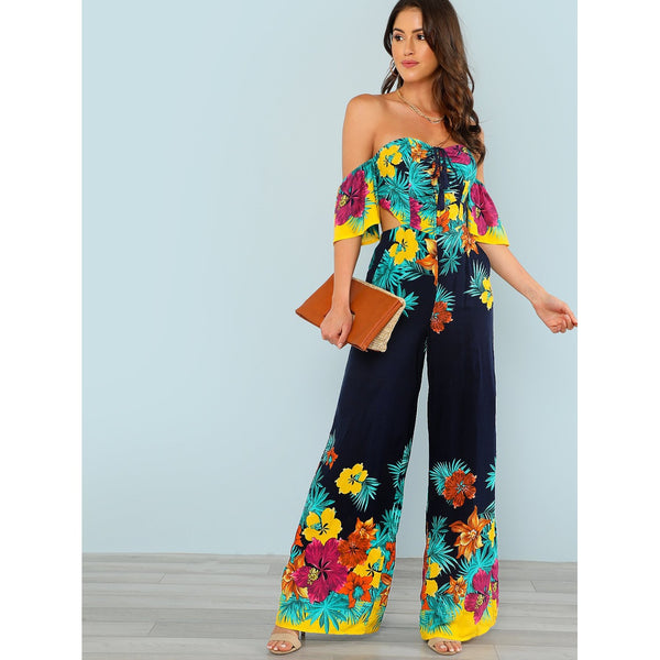 Flounce Layered Knotted Back Flare Hem Jumpsuit