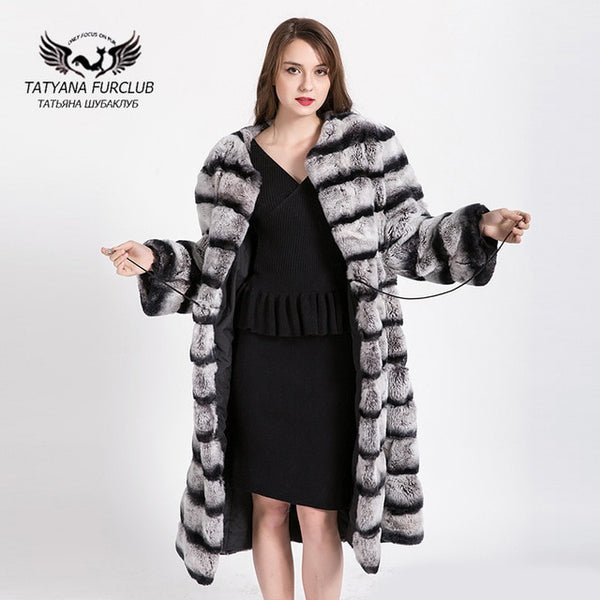 100% Real whole skin Rex rabbit coat Lengthened 2017 Shop Winter Coats Russian Leather Jacket Waistcoat Fur Women Real Fur Coat
