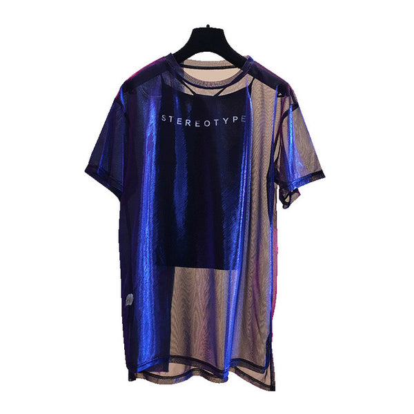 2 Pcs/Set Sexy Mesh Sheer Holographic Tops Tee Women 2020 Fashion Nightblue See-Through T Shirt Short Sleeve Shiny Shirt Tunic