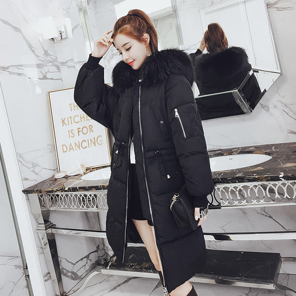 -20 degrees wear winter jacket women parkas mujer X-long Parka Coat Casual Solid Thick big fur collar Jacket Coat plus size 3XL