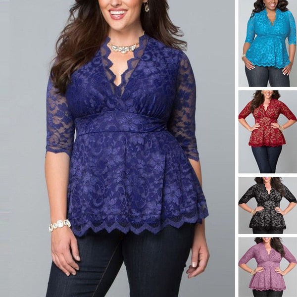 2016 Blouse Women Lady Clothing Big Plus Size Sexy Lace Flower Shirts Casual Hollow V-Neck Three Quarter Blouse Tops New Women