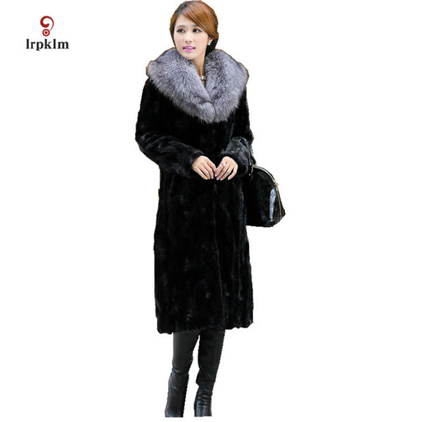 2017 New Fashion Weman's Winter High Imitation Mink Fur Coat Female Fox Fur Collar Long Jacket Warm Slim Parkas Black PQ054