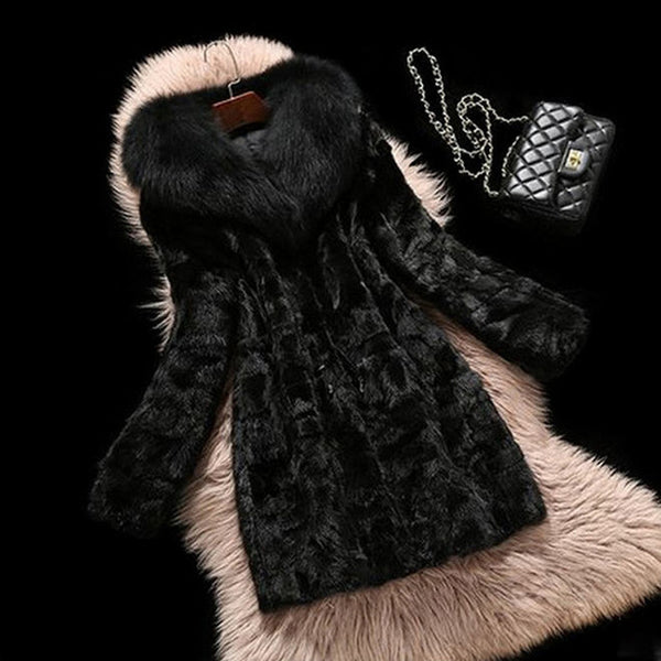 2017 Winter Women Medium Long Artificial Faux Mink Fur Coats Female Fake Fox Fur Collar Outerwear Plus Size 4XL 5XL Black H086